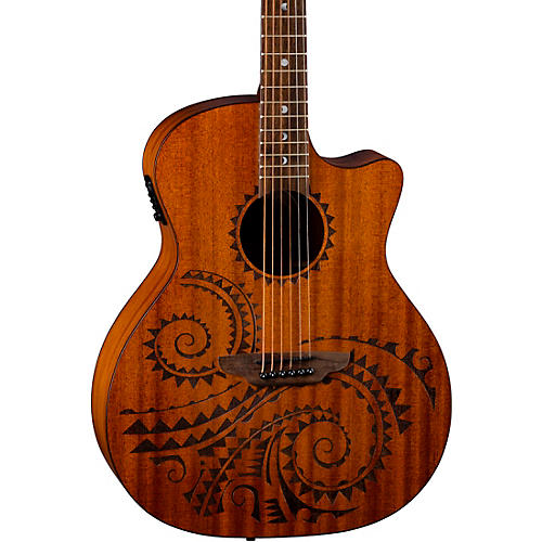 Luna Guitars Gypsy Tattoo Mahogany Acoustic-Electric Grand Concert Guitar
