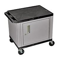 H. Wilson Adjustable-Height Tuffy Cart With Lockable Cabinet Black And Nickel Small-Large