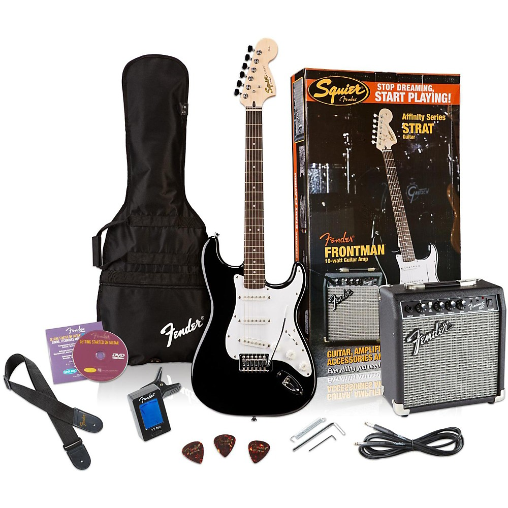 Squier Affinity Stratocaster Electric Guitar Pack W/ 10G Amplifier Black 1341929052834
