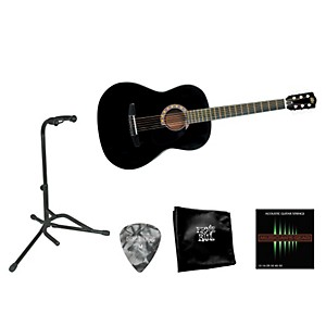 Rogue Beginner Acoustic Dreadnought 7/8 Guitar With Accessory Pack Black