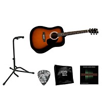 Rogue Beginner Acoustic Dreadnought Guitar With Accessory Pack Black