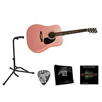 Rogue Beginner Acoustic Dreadnought Guitar With Accessory Pack Pink