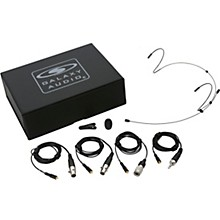 HSM4 Dual Ear Headset Mic With 4 Mixed Connector Cables (1 Audio Technica, 1 Galaxy Audio/AKG, 1 Sennheiser, 1 Shure), Windscreen, Clip and Case Black