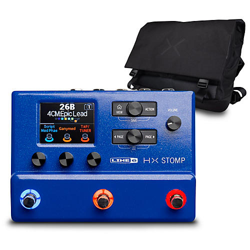 Line 6 HX Stomp Limited Edition Multi-Effects Pedal-Lightning Blue with HX Messenger Bag