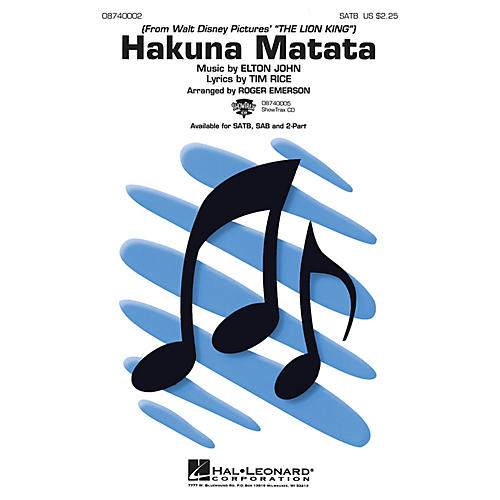 Hal Leonard Hakuna Matata (from The Lion King) 2-Part Arranged by Roger Emerson