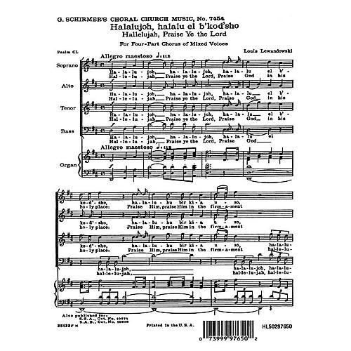 G. Schirmer Hallelujah Praise Ye the Lord (English & Hebrew) SATB composed by Louis Lewandowski