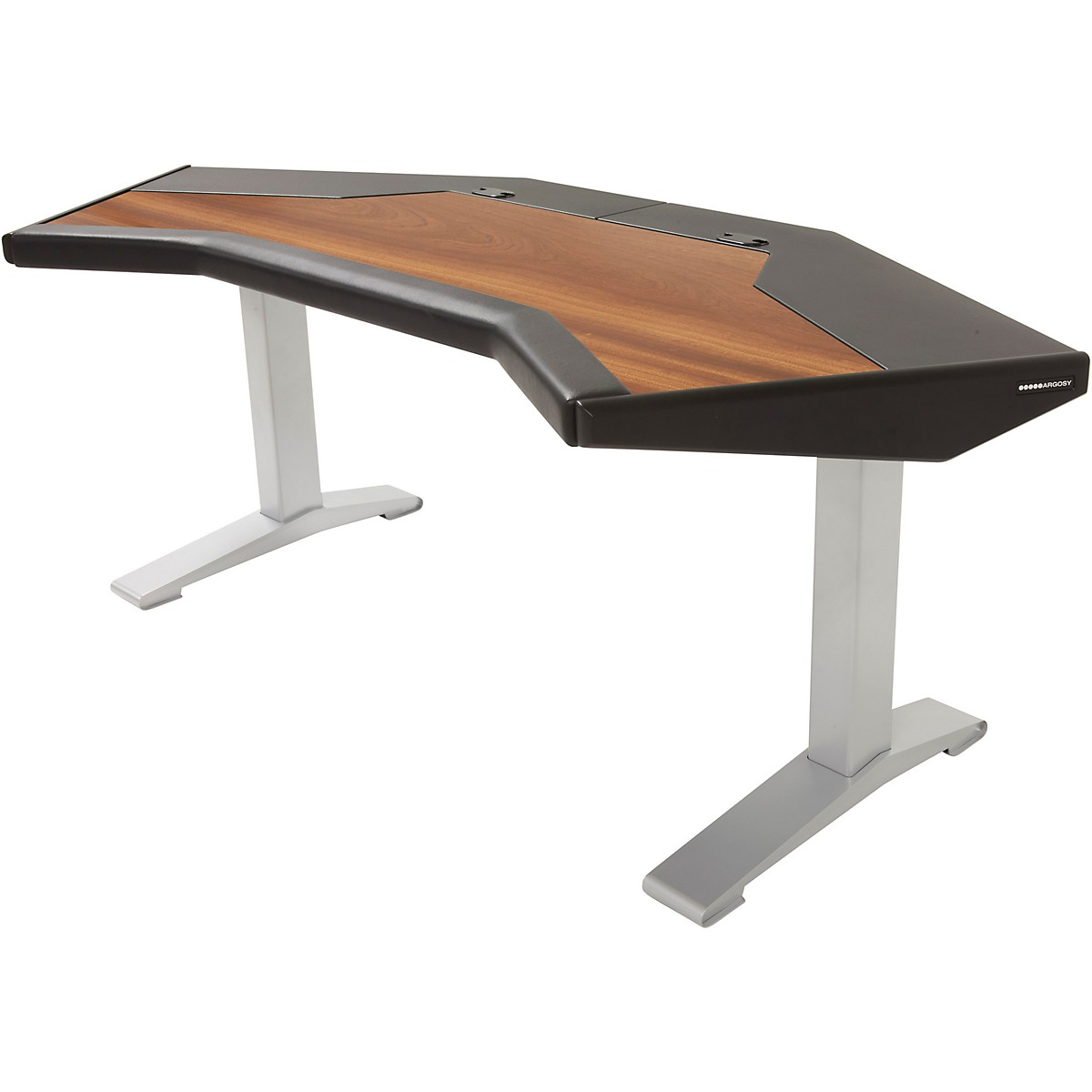 Argosy Halo G Desk with Black End Panels, Mahogany Surface, and Silver Legs