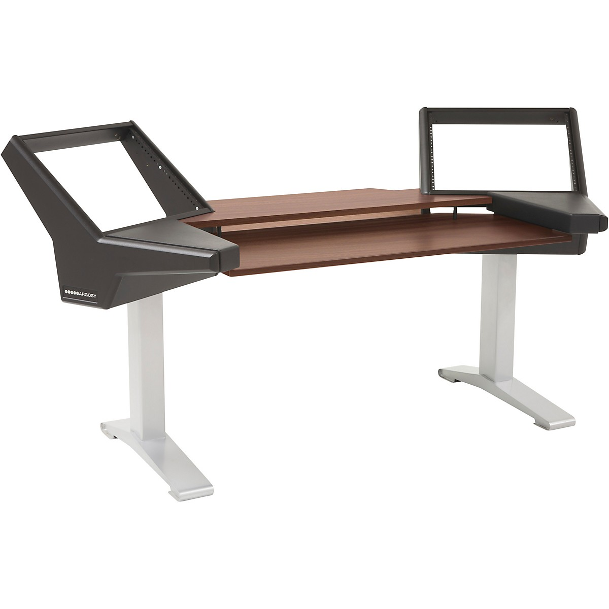 Argosy Halo Keyboard Desk with Black End Panels, Mahogany Surface, and Silver Legs