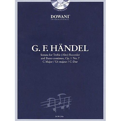 Dowani Editions Handel: Sonata in C Major, Op. 1, No. 7 for Treble (Alto) Recorder and Basso Continuo Dowani Book/CD