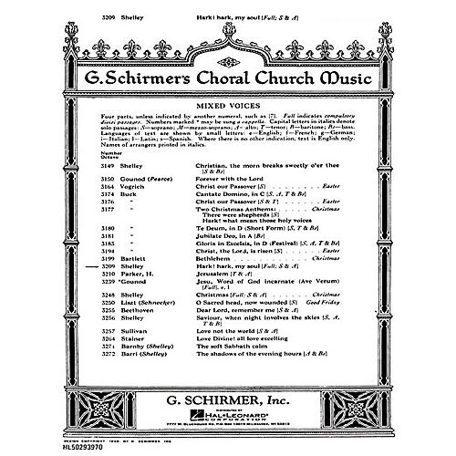 G. Schirmer Hark Hark My Soul SATB composed by Harry Rowe Shelley