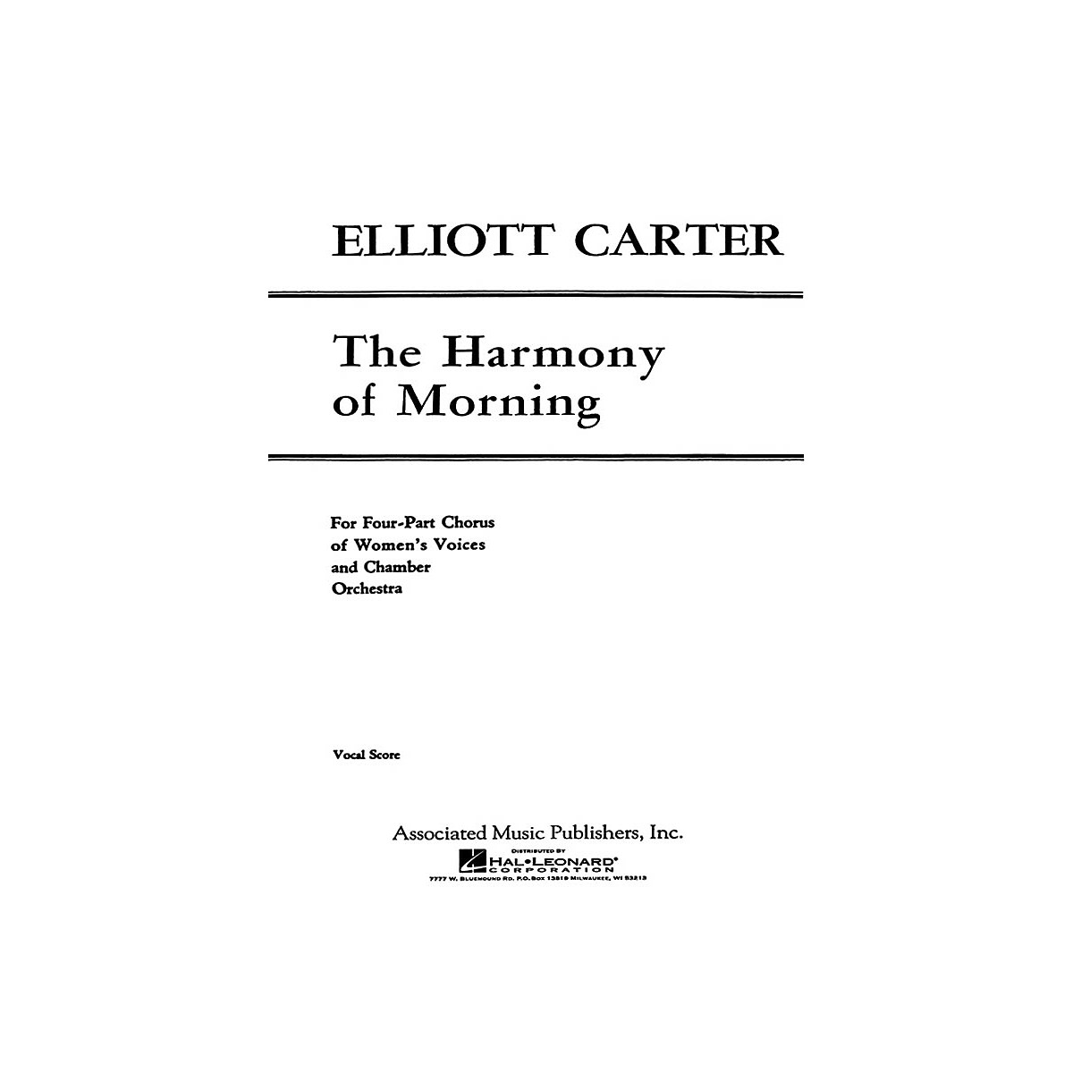 G. Schirmer Harmony Of Morning - SSAA/Pnovocal Score SSAA composed by E Carter