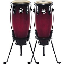 "Meinl Headliner Series 10"" & 11"" Wood conga set with Basket Stands Level 1 Wine Red Burst"