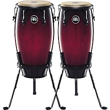 Headliner Series 11 and 12 Inch Wood Conga Set with Basket Stands Wine Red Burst