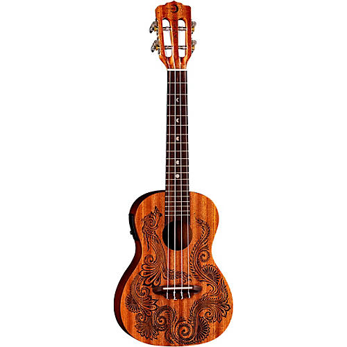Luna Guitars Henna Dragon Mahogany Concert Acoustic-Electric Ukulele
