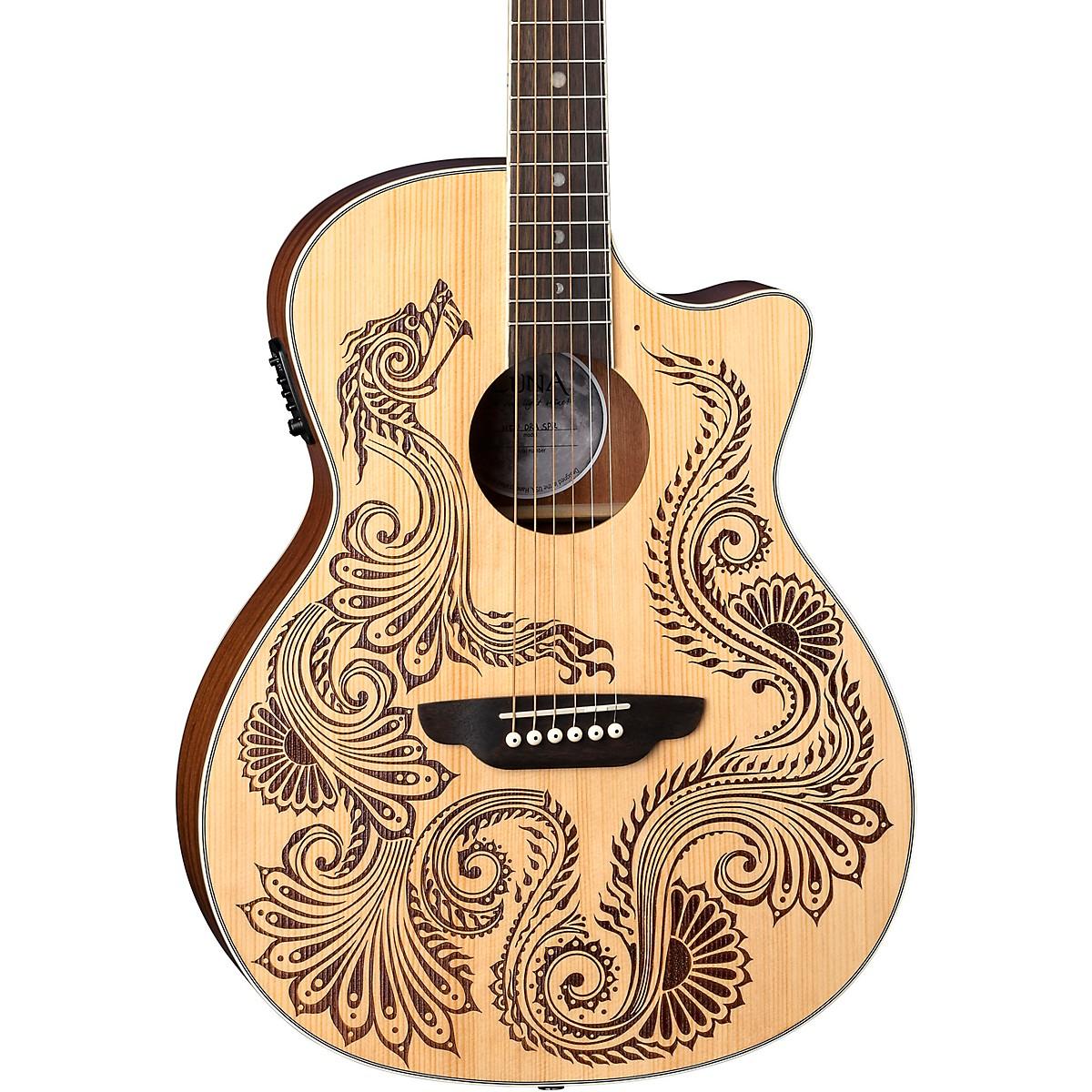 Luna Guitars Henna Dragon Select Spruce Acoustic/Electric Guitar