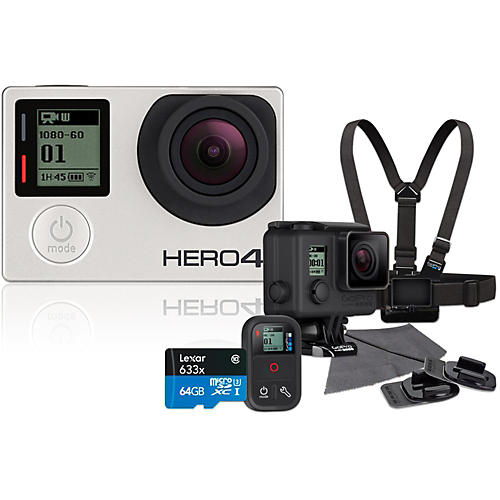 GoPro Hero4 Silver Music Edition Drummer's Pack with 64GB SD Card Bundle