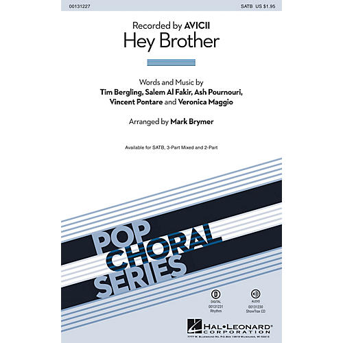 Hal Leonard Hey Brother 2-Part by Avicii Arranged by Mark Brymer