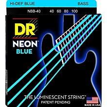 DR Strings Hi-Def NEON Blue Coated Lite 4-String Bass Strings (40-100)