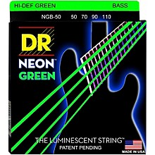 DR Strings Hi-Def NEON Green Coated 4-String Bass Strings Heavy (50-110)