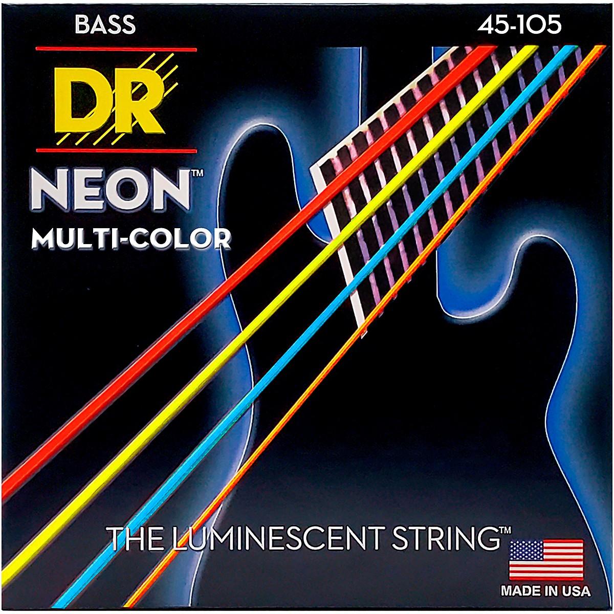 DR Strings Hi-Def NEON Multi-Color Coated Medium 4-String Bass Strings