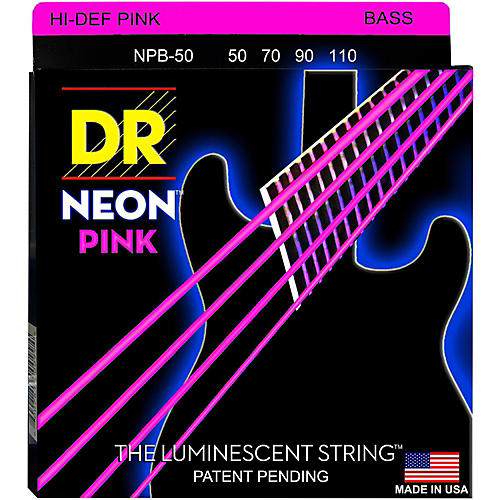 DR Strings Hi-Def NEON Pink Coated 4-String Bass Strings Heavy (50-110)