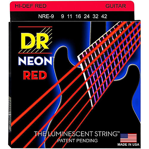 DR Strings Hi-Def NEON Red Coated Light (9-42) Electric Guitar Strings