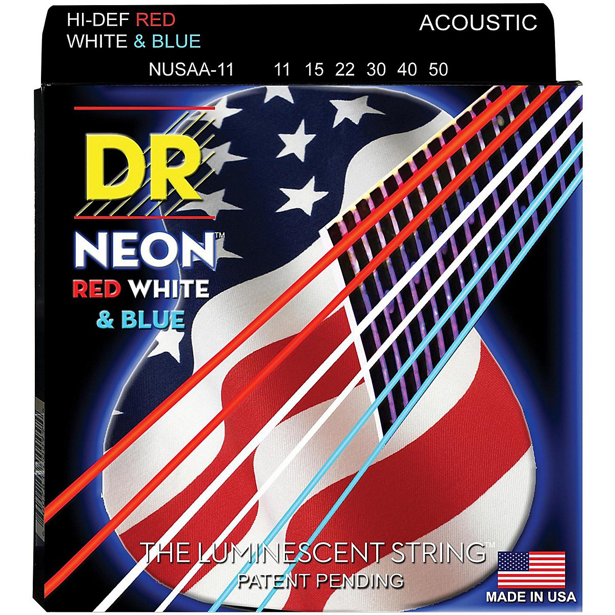 DR Strings Hi-Def NEON Red, White & Blue Acoustic Guitar Medium-Lite Strings