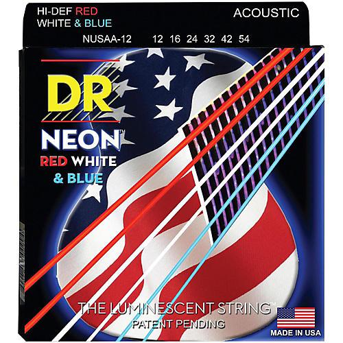 DR Strings Hi-Def NEON Red, White & Blue Acoustic Guitar Medium Strings