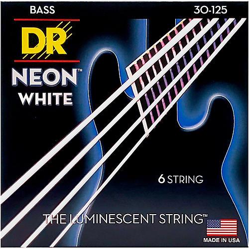 DR Strings Hi-Def NEON White Coated Medium 6-String Bass Strings