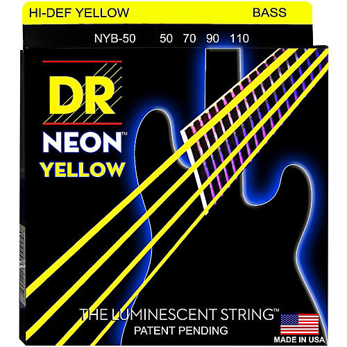 DR Strings Hi-Def NEON Yellow Coated 4-String Bass Strings Heavy (50-110)