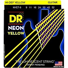 DR Strings Hi-Def NEON Yellow Coated Lite 7-String Electric Guitar Strings (9-52)