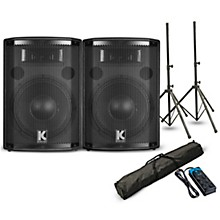 """Kustom PA HiPAC10 10"""" Powered Speaker Pair with Stands and Power Strip"""