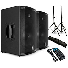 """Kustom PA HiPAC12 12"""" Powered Speaker Pair with Stands and Power Strip"""