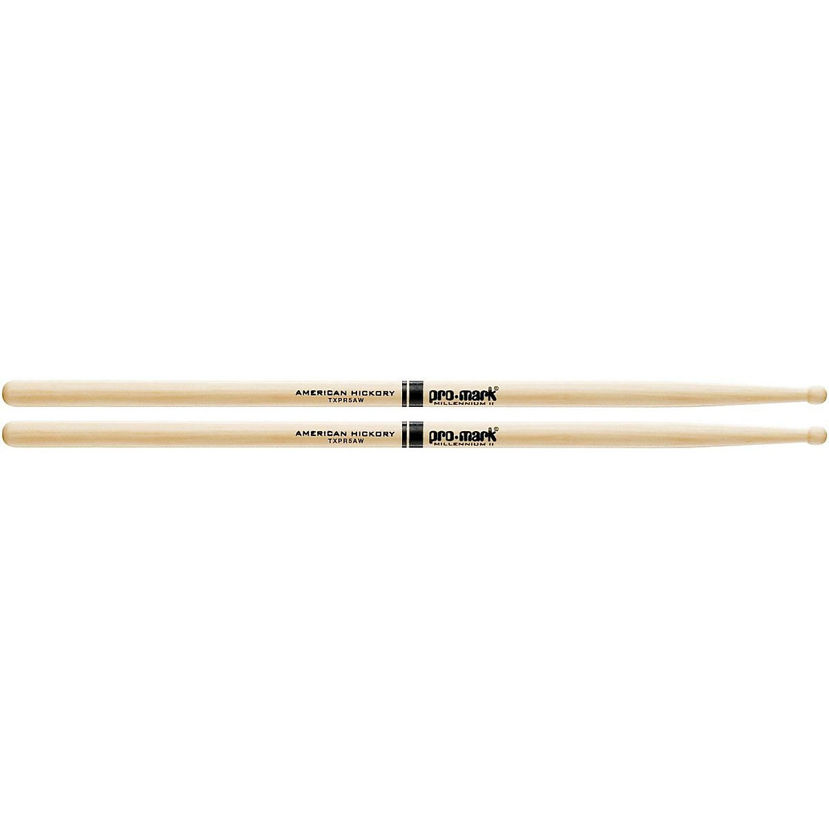 Promark Hickory 5A Pro-Round Wood Drum Sticks