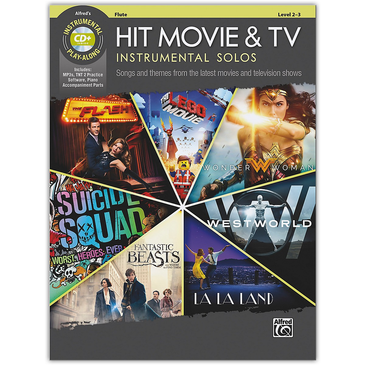 Alfred Hit Movie & TV Instrumental Solos Flute Book & CD Level 2-3