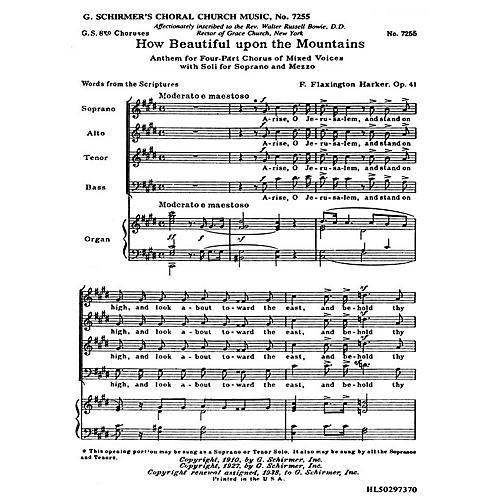 G. Schirmer How Beautiful Upon the Mountains, Op. 41d (SATB) by F. Flaxington Harker