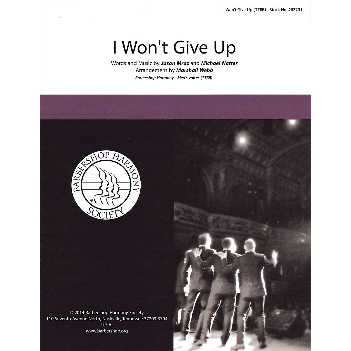Hal Leonard I Won't Give Up TTBB A Cappella