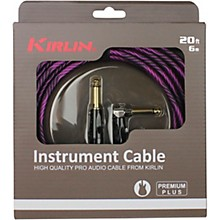 "KIRLIN IWB Black/Purple Woven Instrument Cable 1/4"" Straight to Right Angle"