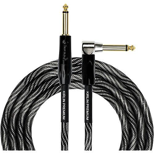 KIRLIN IWB Black/White Woven Instrument Cable 1/4
