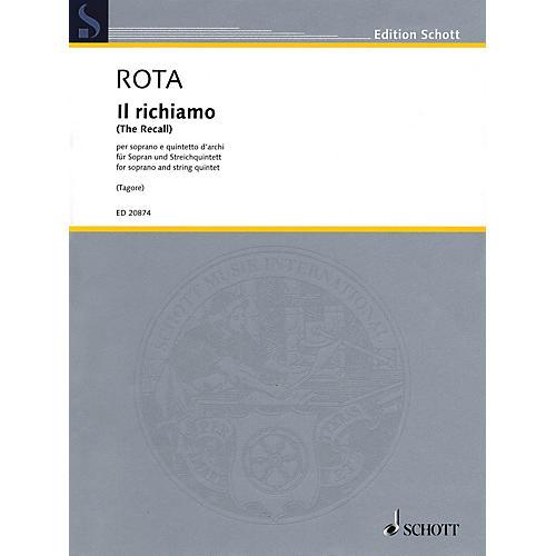 Schott Il richiamo (Soprano and String Quartet) Schott Series Softcover Composed by Nino Rota