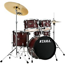 Imperialstar 5-Piece Complete Drum Set with 18 in. Bass Drum and Meinl HCS Cymbals Burgundy Walnut Wrap