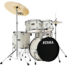Imperialstar 5-Piece Complete Drum Set with 18 in. Bass Drum and Meinl HCS Cymbals Vintage White Sparkle