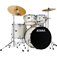 Imperialstar 5-Piece Complete Drum Set with 22 in. Bass Drum and Meinl HCS Cymbals Vintage White Sparkle