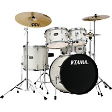 Imperialstar 5-Piece Complete Drum Set with Meinl HCS cymbals and 20 in. Bass Drum Vintage White Sparkle