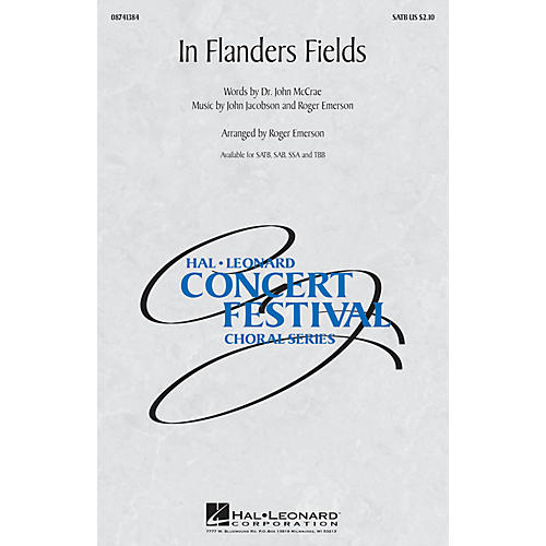 Hal Leonard In Flanders Fields SAB Arranged by Roger Emerson