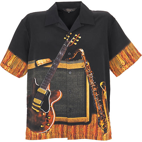 Rock House Los Angeles Instrumental Men's Short Sleeve Microfiber Button Down Shirt