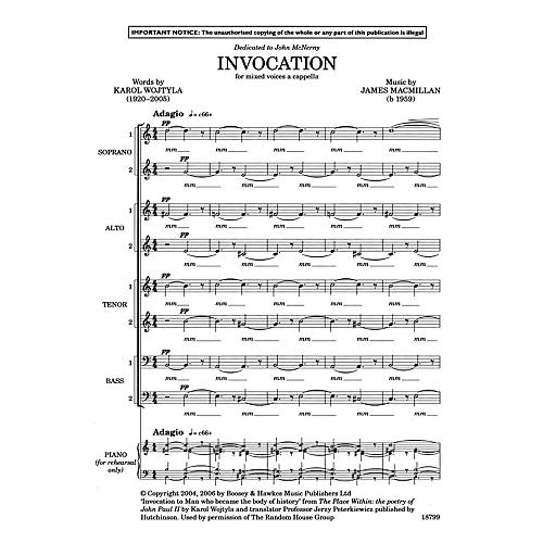 Boosey and Hawkes Invocation SSAATTBB composed by James MacMillan