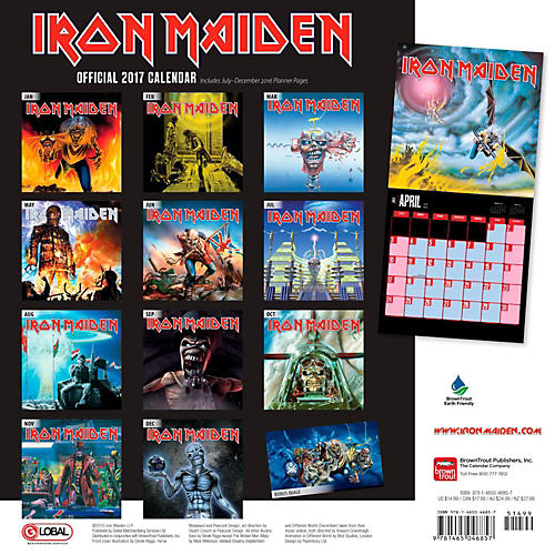 Browntrout Publishing Iron Maiden 2017 Global Calendar