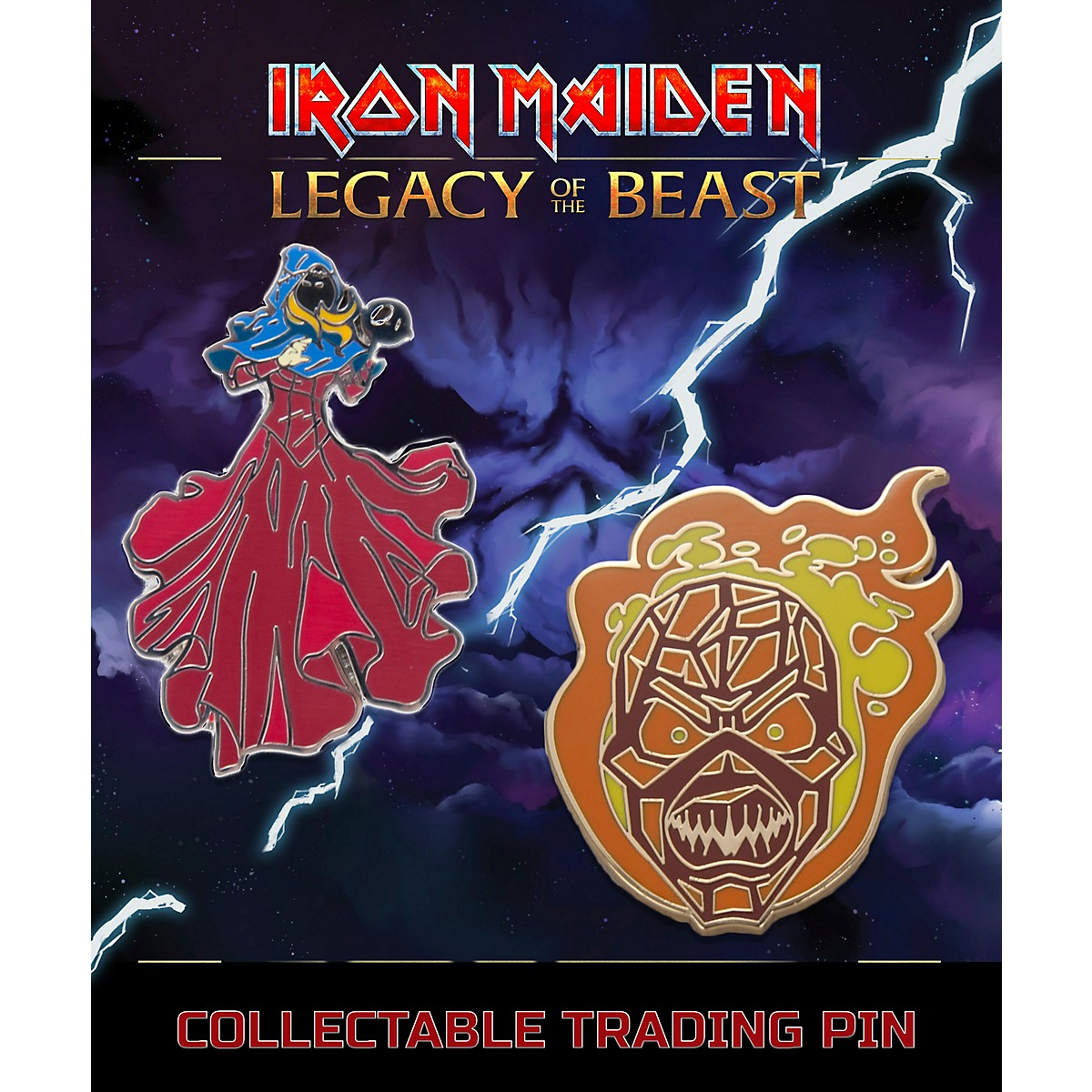 Entertainment Earth Iron Maiden Set #3 Clairvoyant & Wicker Man Lapel Pin 2-Pack