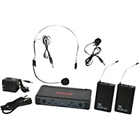 Galaxy Audio Ecd Dual Channel Uhf Wireless System With One Lapel And One Headset Microphone Band L
